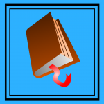Brown book on a blue background