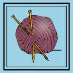 Ball of yarn and knitting needles