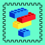 Lego bricks on a blue background
