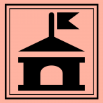 Town hall silhouette on a salmon colored background