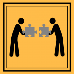 Two stick figures connecting two puzzle pieces
