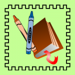 Cartoon crayons and a cartoon book on a green background
