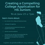 Creating a Compelling College Application for High School Juniors