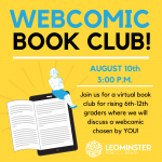 Image of Webcomic Book Club Advertisement  with date and time