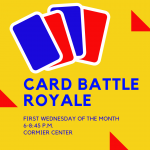 Image advertising teen Card Battle Royale Club with date, time, and location of meetings