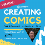 Image advertising Creating Comics event with date, time, and photo of artist K.L. Ricks