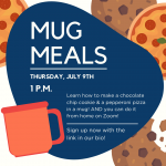 Mug Meals for Teens advertisement with date, time, and brief description of the event