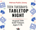 VIRTUAL Teen Tuesdays:  Tabletop Night (Ages 11-18)