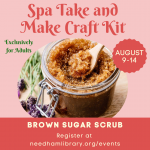 Promotional image for the Adult Take and Make Craft Kit: Brown Sugar Scrub