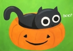 Peekaboo Kitty in Pumpkin Art Class for Children Ages 8 and up