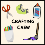 picture of crafting items, scissors, glue, paintbrush, cup of crayons and tape dispenser.