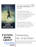 Evening Book Group Meeting: Close Your Eyes, Hold Hands