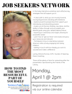 POSTPONED -- Tewksbury Job Seekers Network: How To Find The Most Resourceful Part Of Yourself