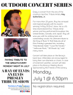 OUTDOOR CONCERT SERIES: A Ray of Elvis: An Elvis Presley Tribute Show