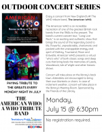 OUTDOOR CONCERT SERIES: The American WHO -- A WHO Tribute Band