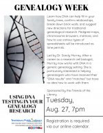 GENEALOGY WEEK: Using DNA Testing In Your Genealogy Research