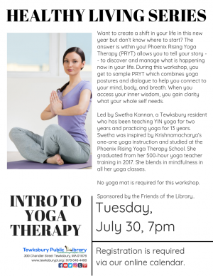 07 30 2019 Healthy Living Series Intro To Yoga Therapy Tewksbury Public Library