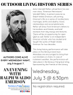 OUTDOOR LIVING HISTORY SERIES: An Evening with Ralph Waldo Emerson