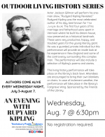 OUTDOOR LIVING HISTORY SERIES: An Evening with Rudyard Kipling