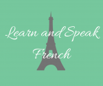 Learn french with eiffel tower behind words