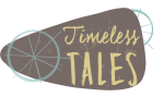 Brown background with the words Timeless Tales in blue