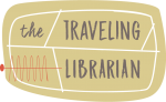 Tan oval with the words Traveling Librarian