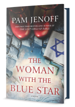 Book cover with book title Woman with blue star superimposed on cobblestones with with red shoes sho