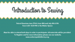 Flyer for intro to sewing June/July 2019 at the Woburn Library.