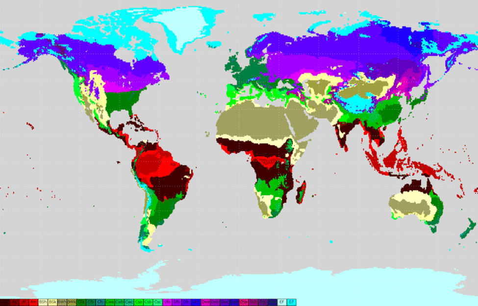 Climate zones and biomes lesson 0111 tqa explorer this world map of the kppen classification system indicates where the climate zones and major biomes are located gumiabroncs Choice Image