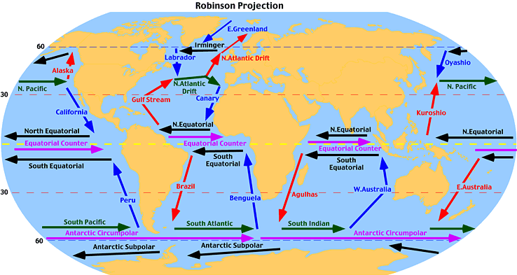 Surface Ocean Currents Lesson TQA Explorer - Map of us ocean currents
