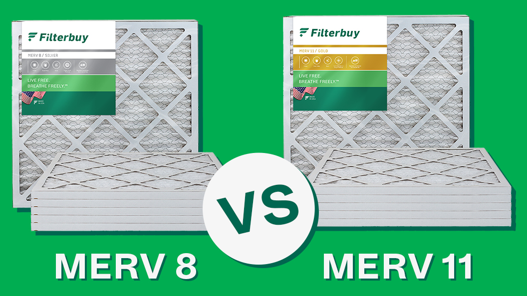 MERV 8 air filters compared with MERV 11 air filters