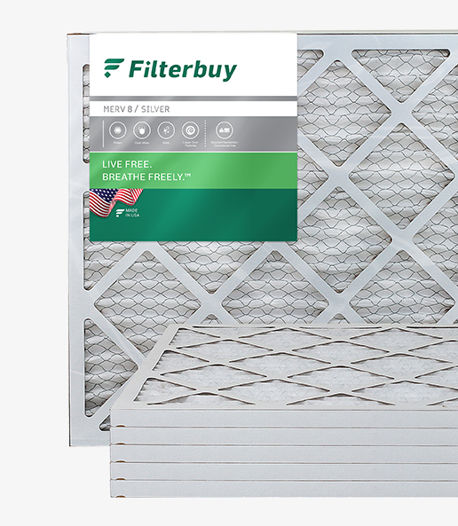 Photo of a MERV 8 pleated air filter in Filterbuy packaging