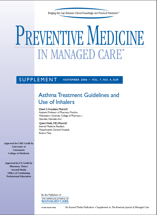 Preventive Medicine in Managed Care - Asthma Treatment Guidelines and Use of Inhalers