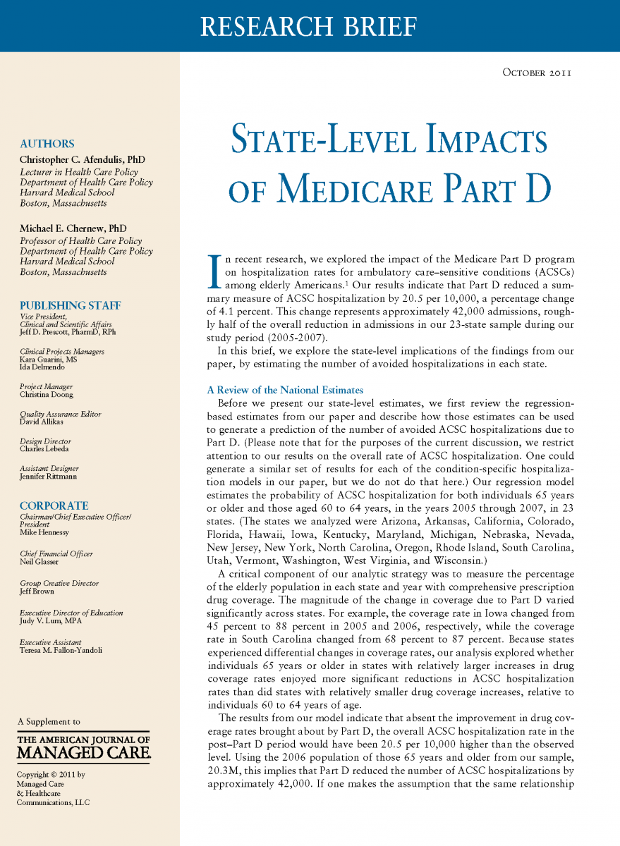 State-Level Impacts of Medicare Part D