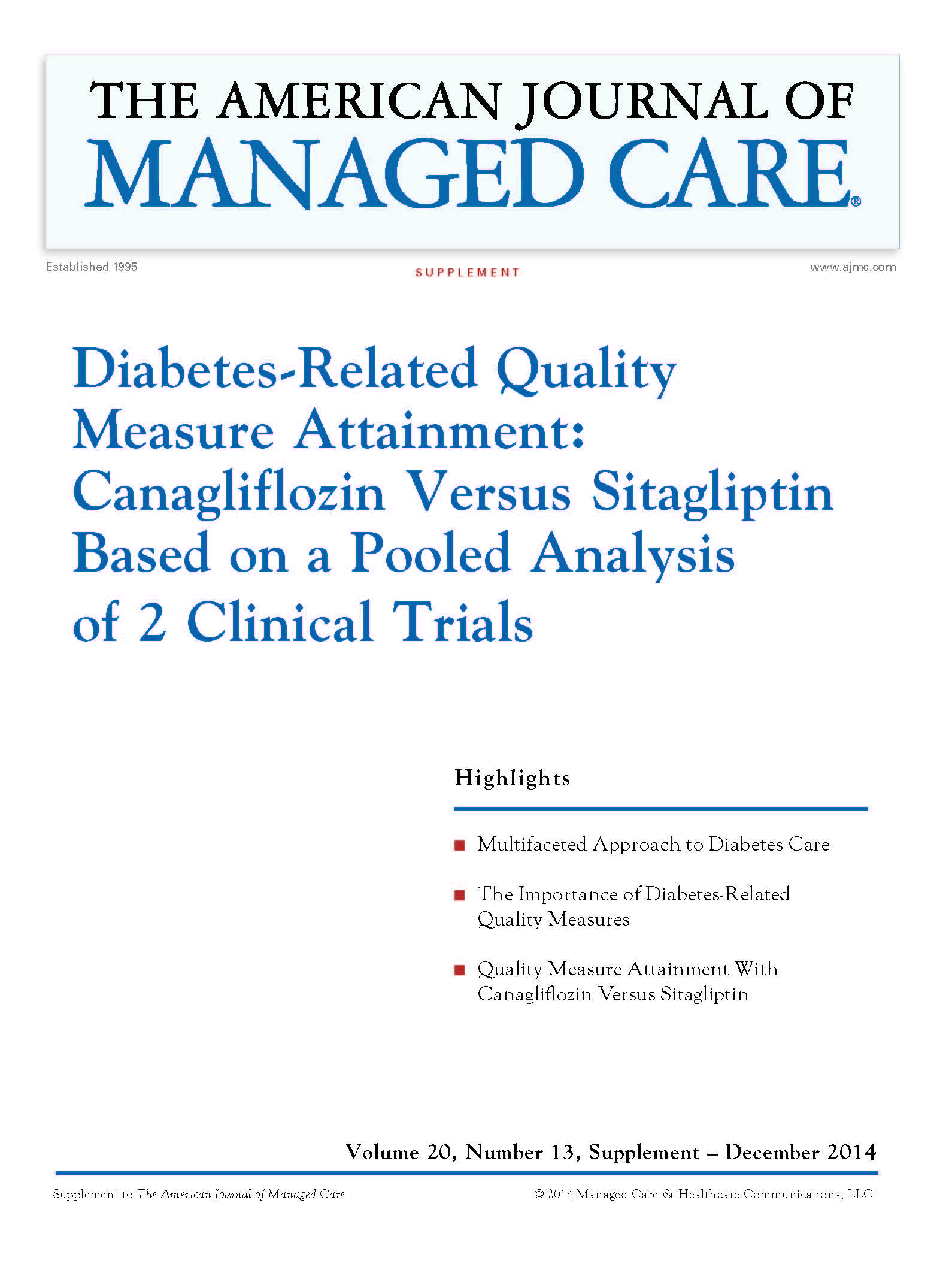 Diabetes-Related Quality Measure Attainment: Canagliflozin Versus Sitagliptin Based on a Pooled Analysis of 2 Clinical Trials