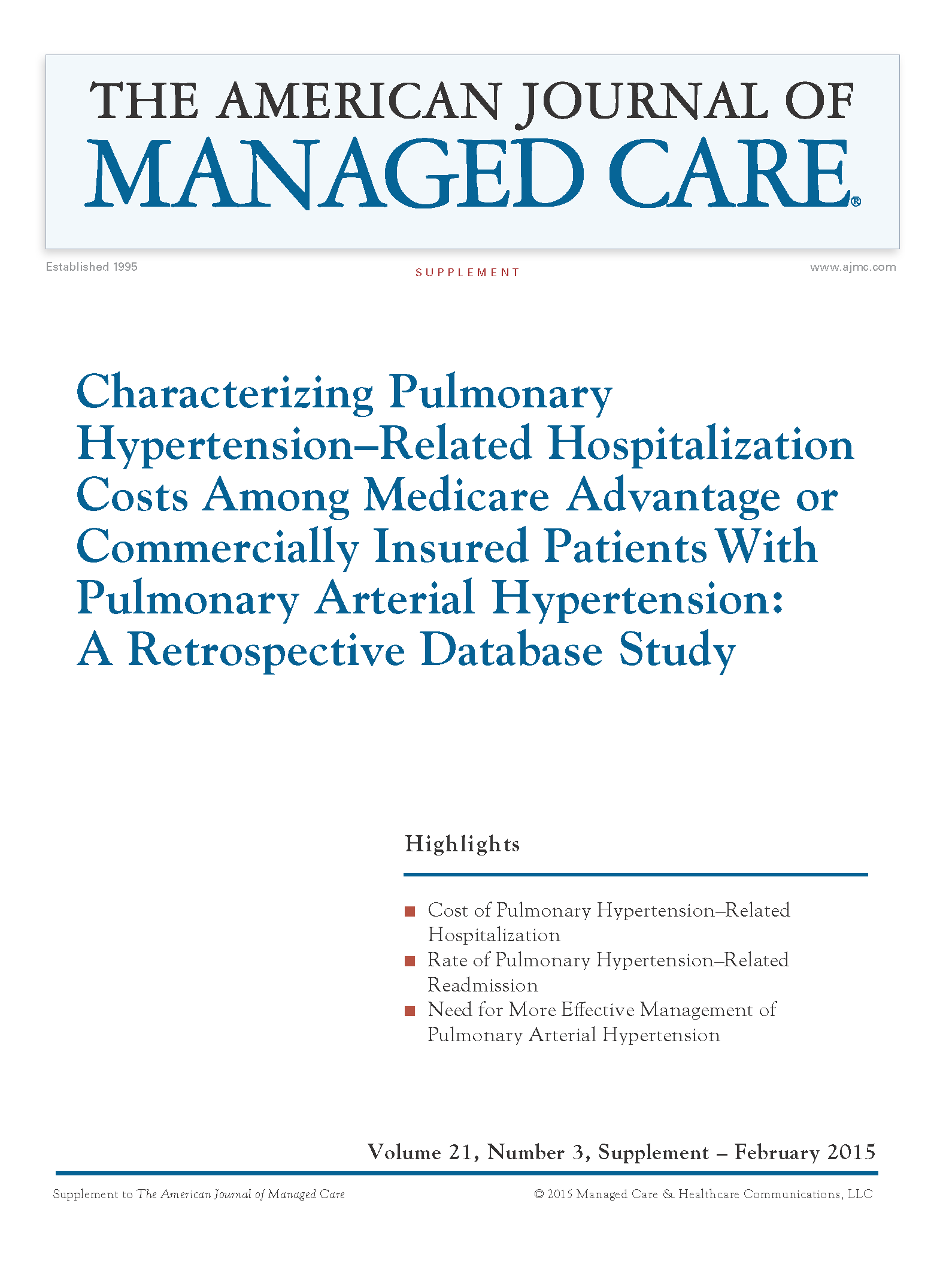 Supplement | Characterizing Pulmonary Hypertension–Related Hospitalization Costs Among Medicare Advantage or Commercially Insured Patients With Pulmonary Arterial Hypertension: A Retrospective Database Study