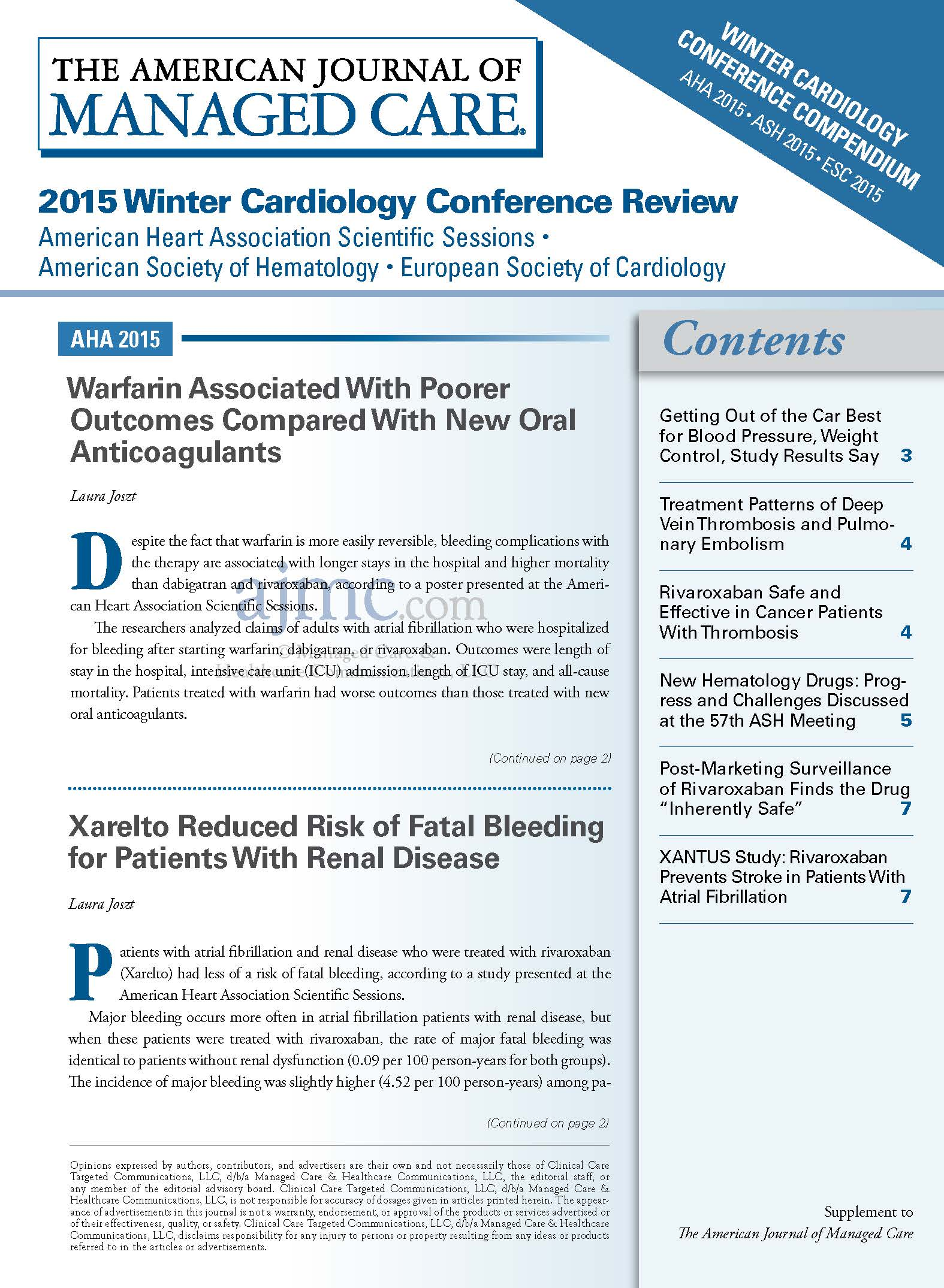 2015 Winter Cardiology Conference Review
