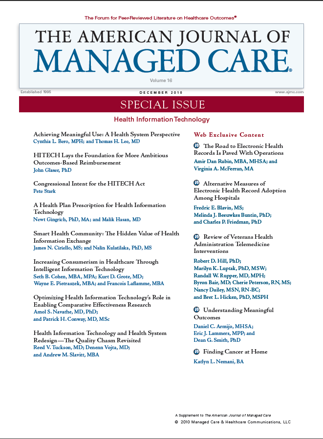 Special Issue: Health Information Technology — Guest Editors: Sachin H. Jain, MD, MBA; and David Blumenthal, MD, MPP