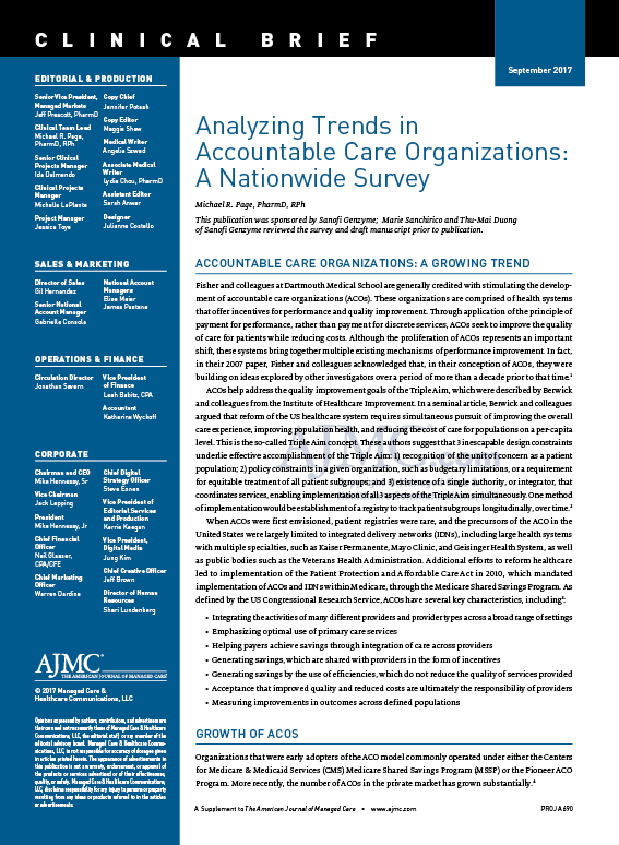 Analyzing Trends in   Accountable Care Organizations:  A Nationwide Survey
