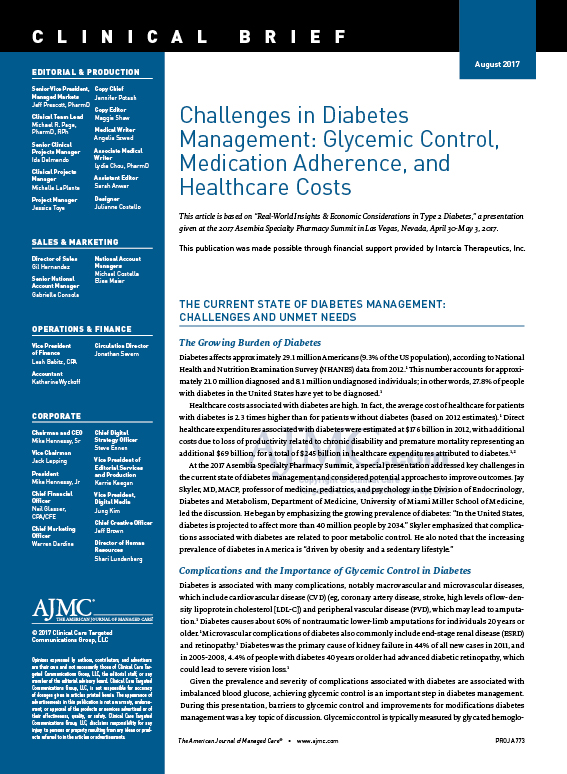 Challenges in Diabetes  Management: Glycemic Control,  Medication Adherence, and  Healthcare Costs