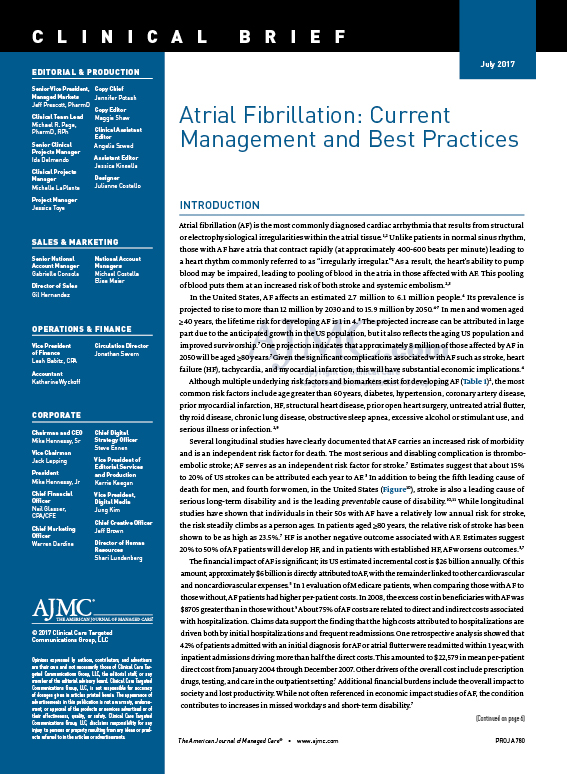 Atrial Fibrillation: Current Management and Best Practices