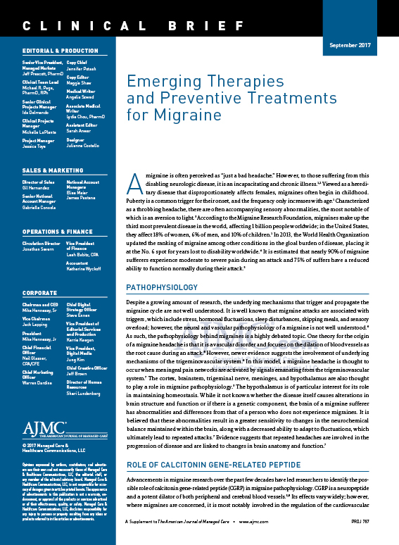 Emerging Therapies   and Preventive Treatments for Migraine