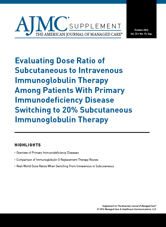 Evaluating Dose Ratio of Subcutaneous to Intravenous Immunoglobulin Therapy Among Patients With Primary Immunodeficiency Disease Switching to 20% Subcutaneous Immunoglobulin Therapy
