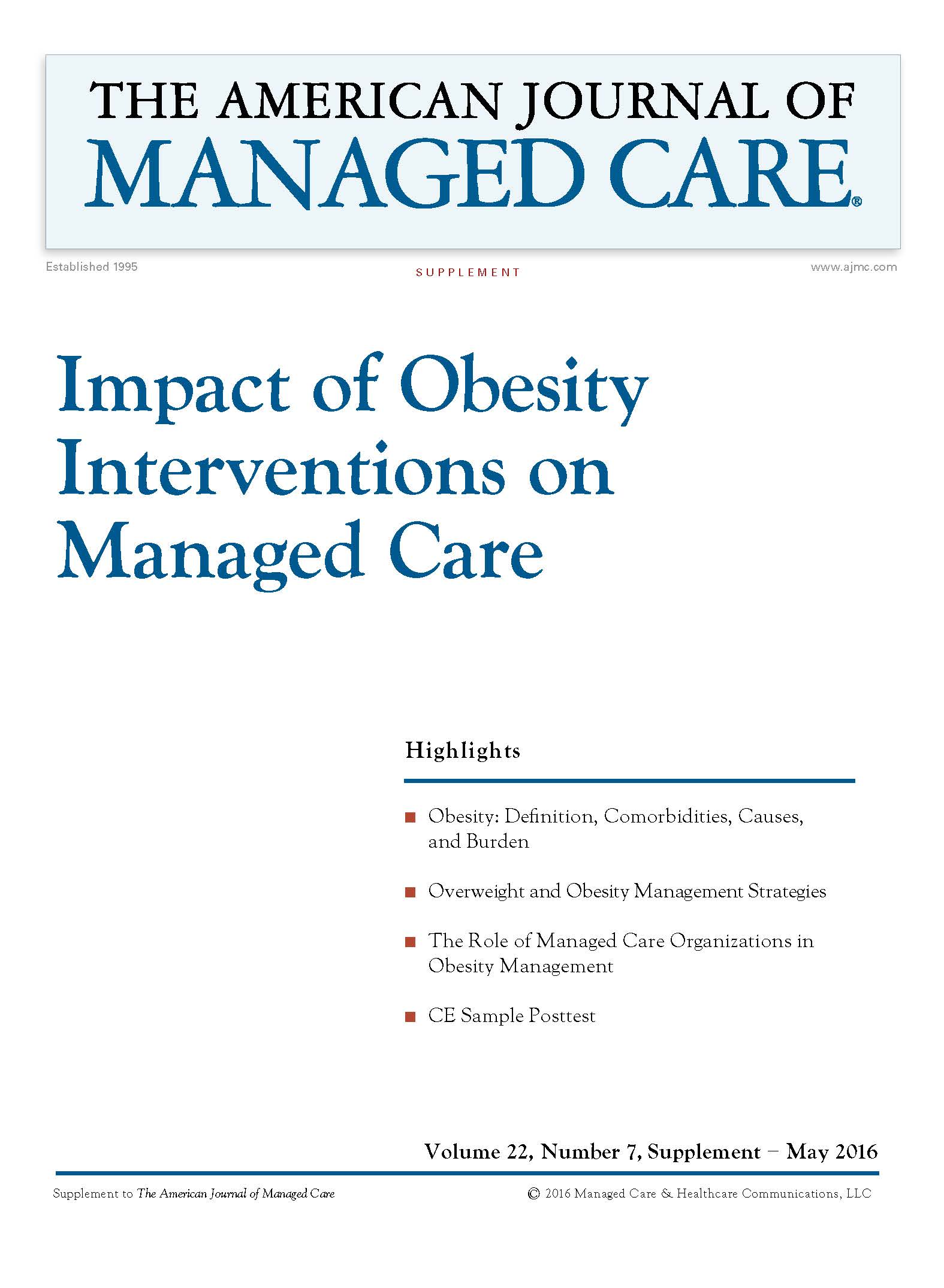 Impact of Obesity Interventions on Managed Care