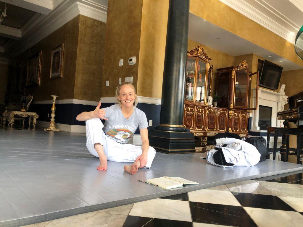 Home Judo mat, martial arts mat, grey martial arts room