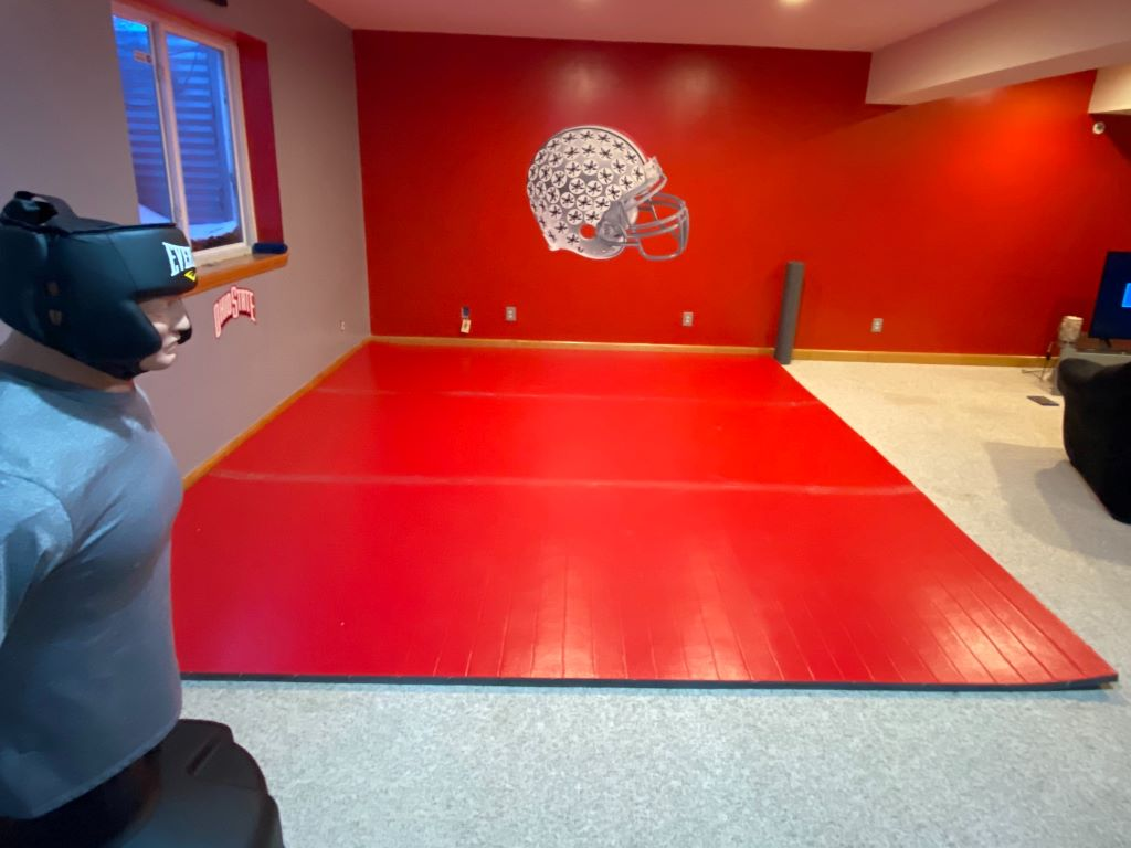 home martial arts room, home wrestling room, combat practice mat red