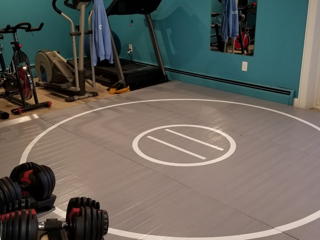 Home wrestling room, home workout room, mma mat