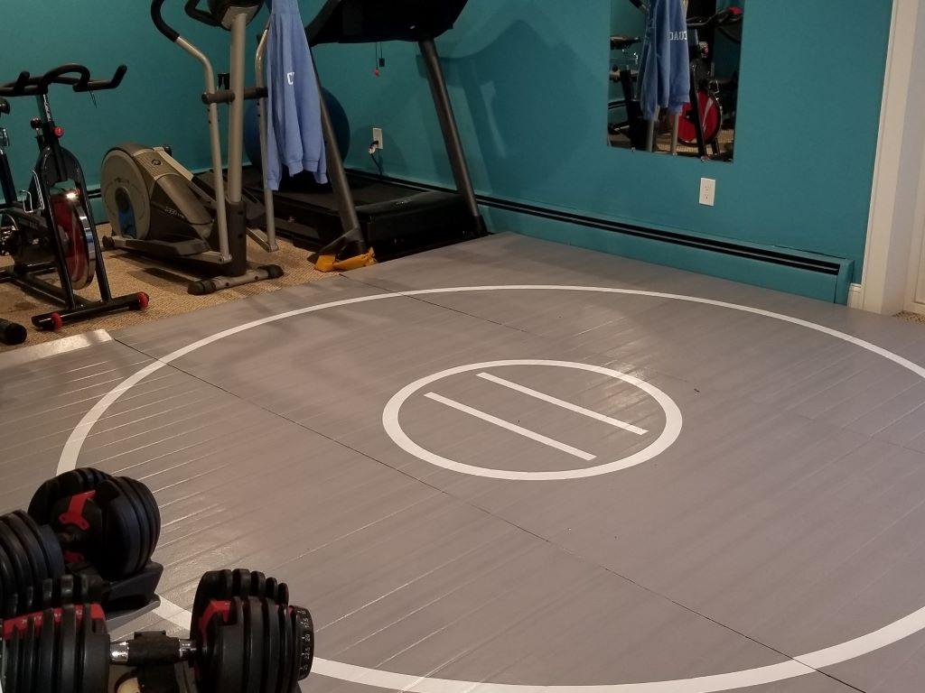 Home wrestling room, home workout room, mma mat