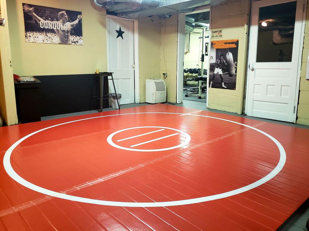 Red home wrestling mat, wrestling room, diy wrestling room