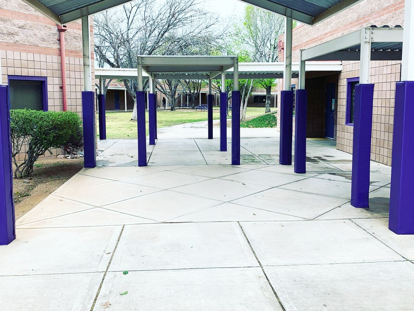 School Courtyard Column Post Protective Padding Purple
